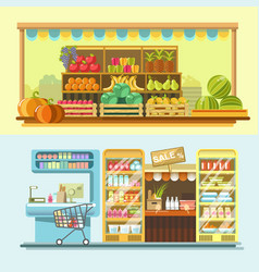 Counters of shop or store and supermarket product vector