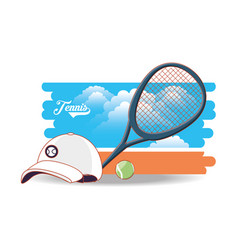 Court of tennis sport with racket cap and ball vector