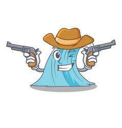 cowboy wave character cartoon style vector image