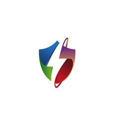 creative colorful shield thunder logo vector image