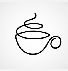 Cup of tea or coffee drawn by single vector