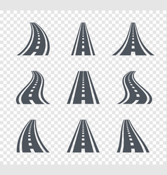 curved road symbols highway and roadway sign vector image