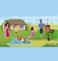 Family picnic on country house yard cartoon vector