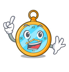 finger gold vintage clock with picture cartoon vector image