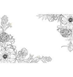 floral border frame template with decorated corner vector image