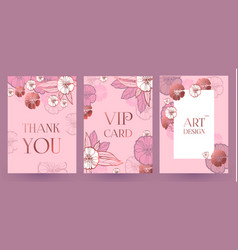 flower card or cover set wedding anniversary vector image