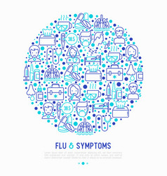 Flu and symptoms concept in circle vector