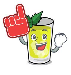 Foam finger mint julep mascot cartoon vector