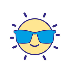 full color happy and cute sun kawaii with vector image