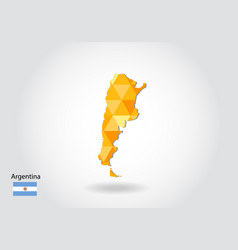 Geometric polygonal style map of argentina low vector