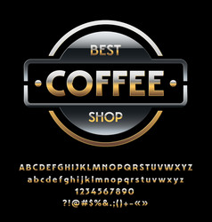 Glossy silver and golden logotype best coff vector