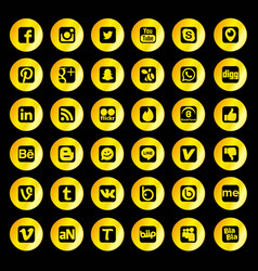 Golden social network icons vector