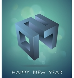 Greeting card for year 2017 with 3D emblem vector image