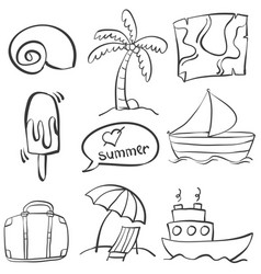hand draw summer element doodles vector image