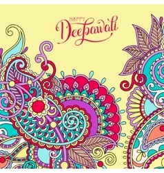 Happy Deepawali greeting card with hand written vector