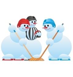 Hockey players and hockey referee vector