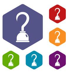 Hook icons set hexagon vector