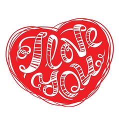 I love you lettering in red heart vector
