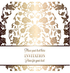 Intricate baroque luxury wedding invitation card vector