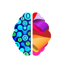left and right human brain concept creative part vector image