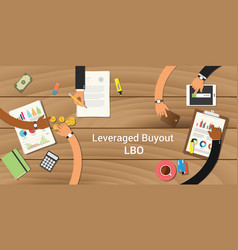 leveraged buyout team work together with a hand vector image