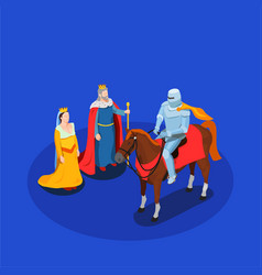 medieval chivalry isometric composition vector image