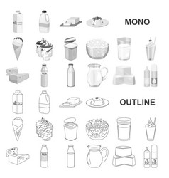 Milk product monochrom icons in set collection for vector