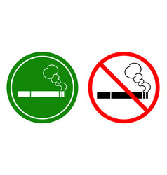 Non-smoking signs and a smoking area vector