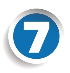 Number Seven sticker blue vector image