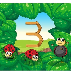 Number three with three ladybugs smiling vector