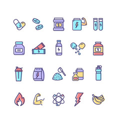 nutrition signs color thin line icon set vector image