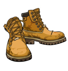 old torn boots with lacing yellow color vector image