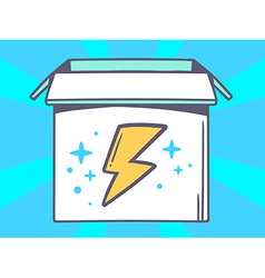 Open box with icon of lightning on blue vector