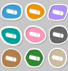 Pencil case symbols Multicolored paper stickers vector