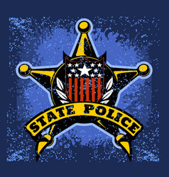 police badge and shield label on grunge vector image