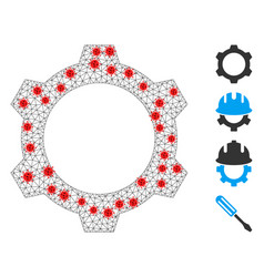 Polygonal wire frame gear icon with pathogen vector