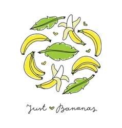 Print of bananas vector