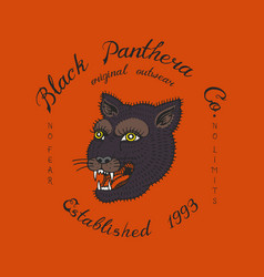 puma or panther logo for vintage t-shirt face vector image