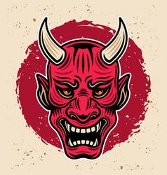 Samurai warrior horned red mask vintage vector