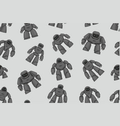 seamless pattern of black different robots vector image