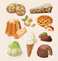 set italian desserts vector image