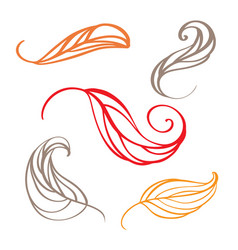 set of color autumn doodle leaves vector image