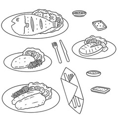 Set of fried fish vector