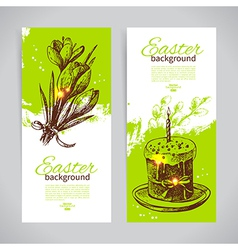 Set of vintage Easter banners with hand drawn vector image