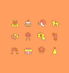 set simple line icons birthday vector image