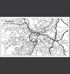 sheffield great britain city map in black and vector image