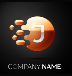 silver letter j logo gold dots splash and bubble vector image