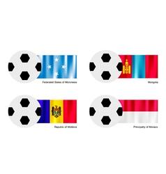 Soccer Ball of Micronesia Mongolia Moldova vector