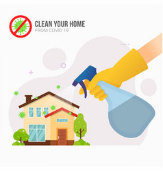 Spraying disinfectant to home vector