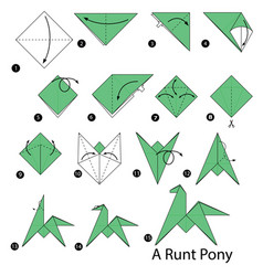 Step instructions how to make origami a runt pony vector